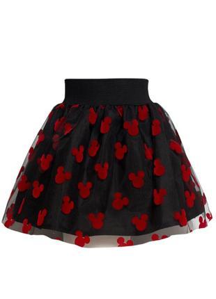 Нарядная двухслойная пышная юбка с бархатными микки