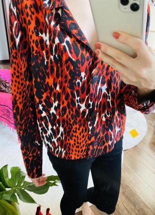 Яркая красная рубашка энимал принт тигровая расцветка рубашка-пиджак животный принт