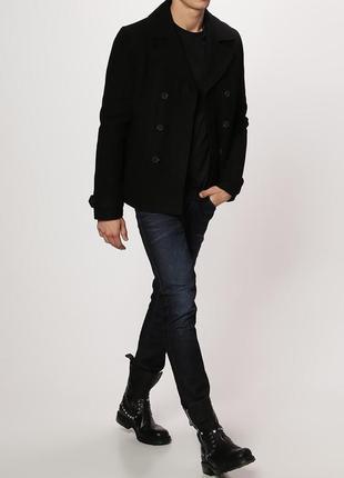 Мужское утепленное пальто с кожаными вставками your turn шерсть ягненка синтепон этикетка