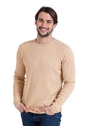 Мужская коттоновая теплая вязаная кофта свитер в косичку cotton traders индонезия