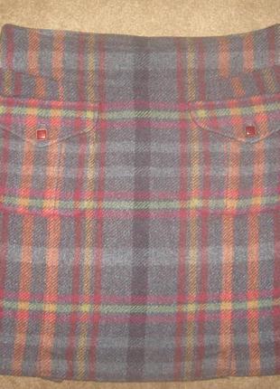 Шерстяная серая в клетку фирменная юбка р-40 в отличном состоянии