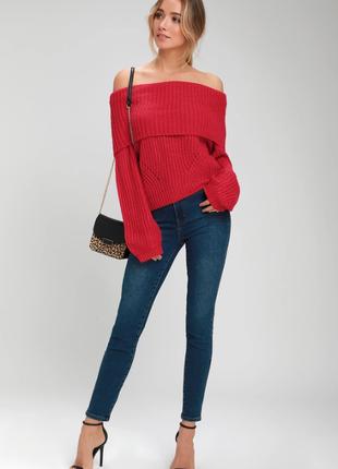 Вязаный свитер красный с открытыми плечами by lulus