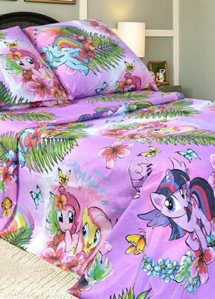 Детское хлопковое полуторное постельное белье пони в подарочной упаковке