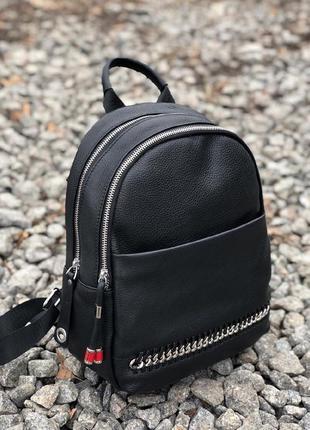 Кожаный рюкзак на две молнии