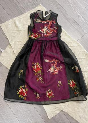 Платье миди из органзы с вышивкой asos
