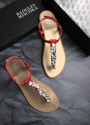 Badgley mischka оригинал кожаные красные сандалии с камнями