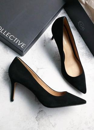 206 collective оригинал черные замшевые туфли лодочки