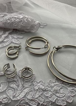 Сережки конго (3шт.) + кільця (4шт.).