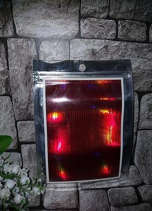Декор лента красная голографическая