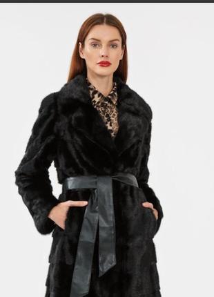 Брендовая черная шуба с поясом и карманами акрил