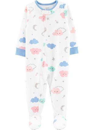 Слип со стопами, пижама облака 2т 5т carters микрофлис