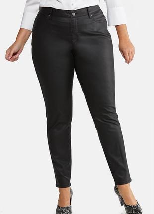 Кожаные штаны высокая талия. джинсы с напылением кожы