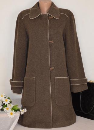 Коричневое шерстяное демисезонное пальто с карманами style collection беларусь