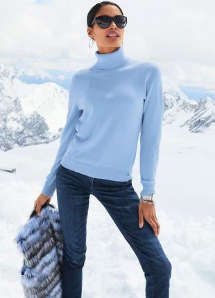 Голубой кашемировый 100% кашемир свитер светр кофта водолазка