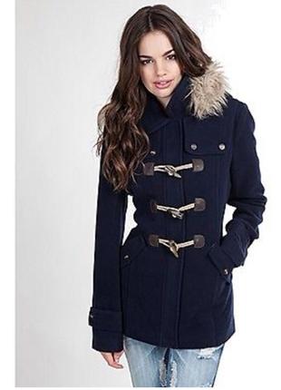Пальто дафлкот с меховым капюшоном и карманами soulcal & co california этикетка