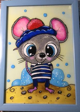 Витражная картина (мышка - морячок)