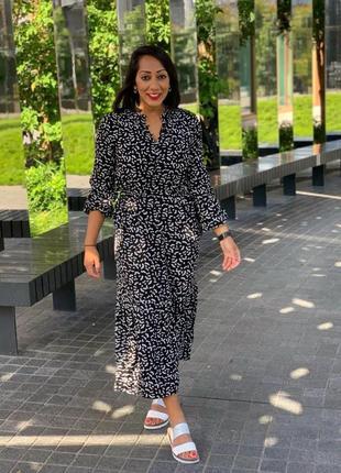 Платье-рубашка миди из вискозы