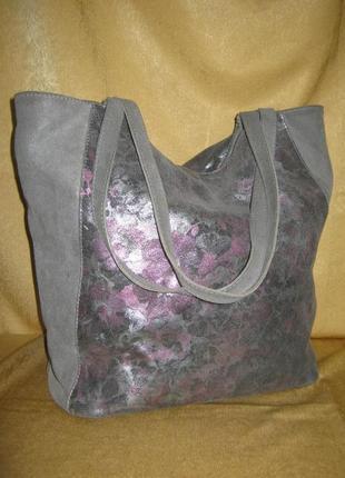 Итальянская кожаная сумка шоппер в отличном состоянии натуральная кожа/замш