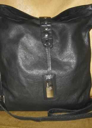 River island унисекс большая черная кожаная сумка кроссбоди в отличном состоянии кожа 100%