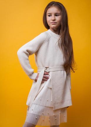 Комплект платье плиссе и свитер оверсайз