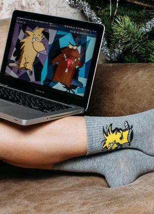 """Ароматизированные носки женские высокие с принтом """"бобры"""" - две пары по цене одной!!!"""