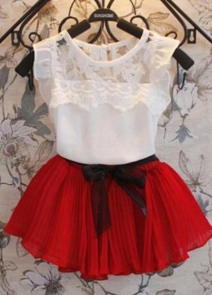 12-39 детский костюм, нежная маечка, плиссированная юбка