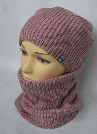 Женская зимняя шапка с баффом розового цвета