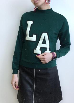Зеленые свитшот  с надписью h&m