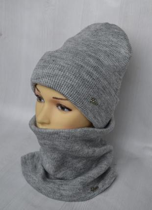 Зимний вязаный комплект на флисе шапка и бафф