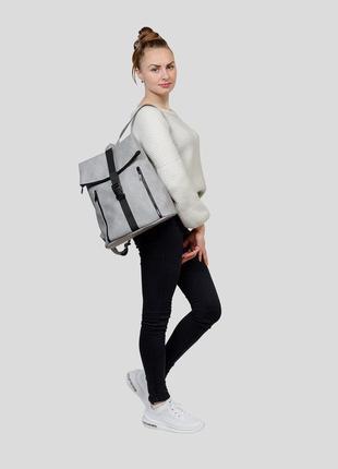 Женская серая сумка для учебы1 фото