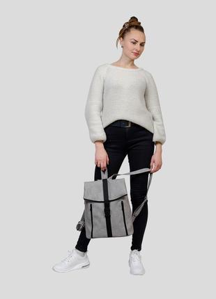 Женская серая сумка для учебы4 фото