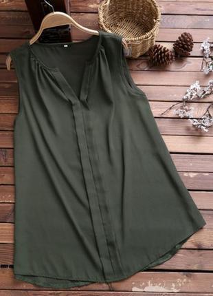Блузка цвета хаки нежная как шёлк opus