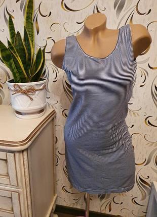 Короткое полосатое платье h&m m/l