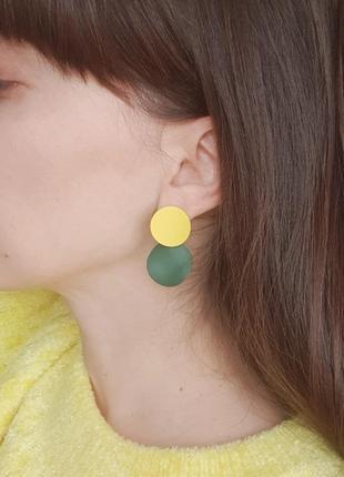 Серьги круглые разноцветные
