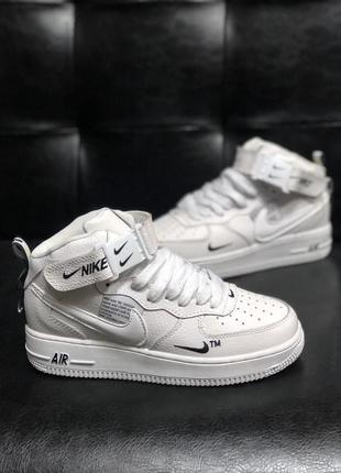 Натуральная кожа зимние белые женские кроссовки люкс качество nike air force