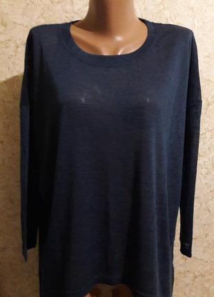 Акция -50% до 31.01 синяя футболка с удлиненной спинкой