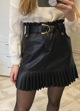 Кожана юбка zara