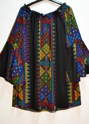 Шикарная туника boohoo - этно стиль, принт вышивка - 16 - с 12-14 по 14-16