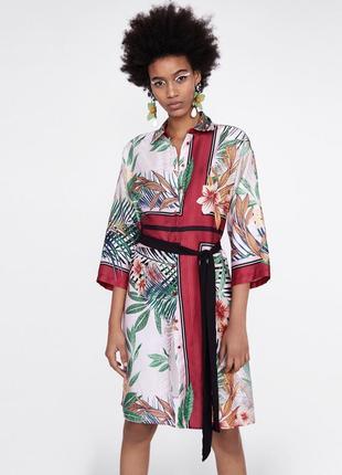 Очень стильная рубашка-платье кимоно zara