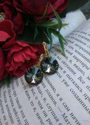 Серьги с кристаллами svarovski crystal silver night
