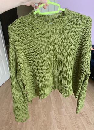 Новый свитер хаки zara