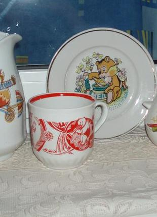 Детская посуда фарфор чашка тарелка кувшин супница/горшочек клеймо деколь