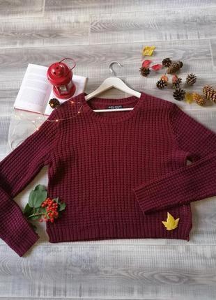 Базовый свитер бордо вязка легкий акриловый джемпер