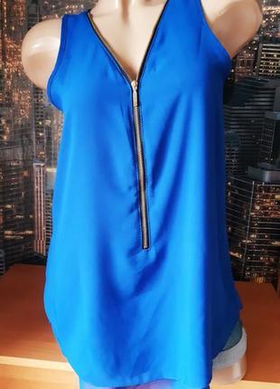 Майка/топ из шифона синего цвета с молнией спереди