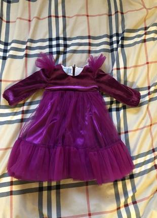 Платье на годик ,нарядное детское платье фуксия