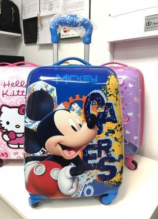 Детский чемодан пластиковый маленький для ручной клади микки маус/валіза дитяча унісекс