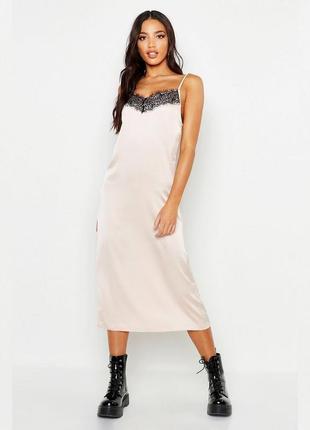 Платье комбинация с кружевом миди asos, шелковое платье слип с кружевом