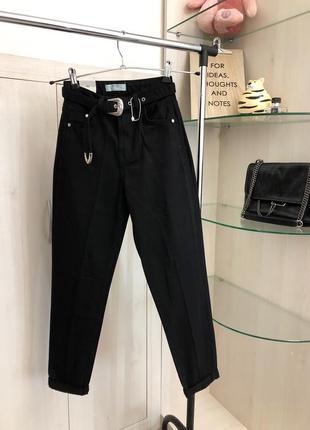 Новые черные джинсы мом mom fit xs xxs bershka