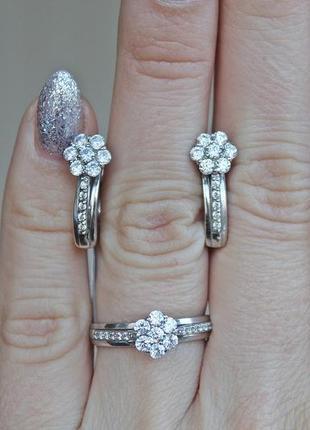 Серебряный набор романтика (кольцо 18) скидка 10%!