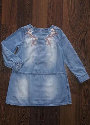 Платье с вышивкой на 2-3 года, тонкий джинс